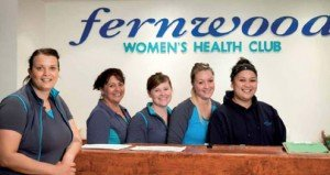 Wendy Brookman with staff at her Canberra health club.